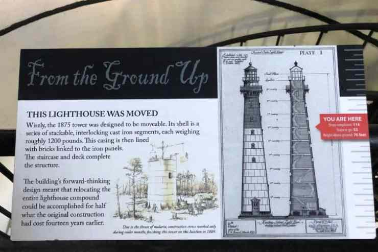 While climbing the lighthouse, placards teach about how the Hunting Island lighthouse was built, its purposes, and history.