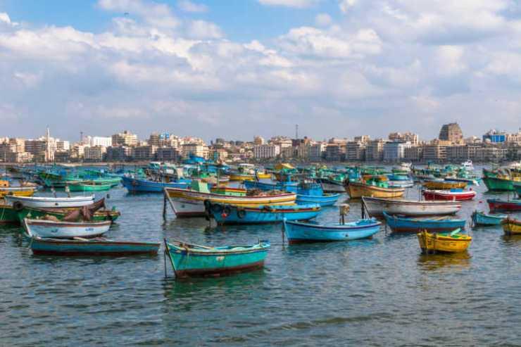 Alexandria Egypt harbor boats