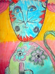 Laurel Burch inspired cat