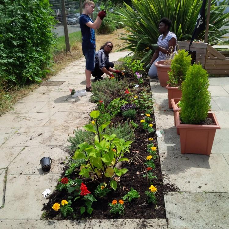 NCS The Challenge Volunteers gardening