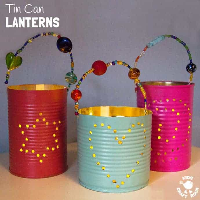 Learn about activities for kids to celebrate christmas. Homemade Gifts Tin Can Lanterns Kids Craft Room