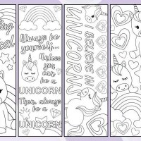 Free Printable -  Unicorn Bookmarks to Color