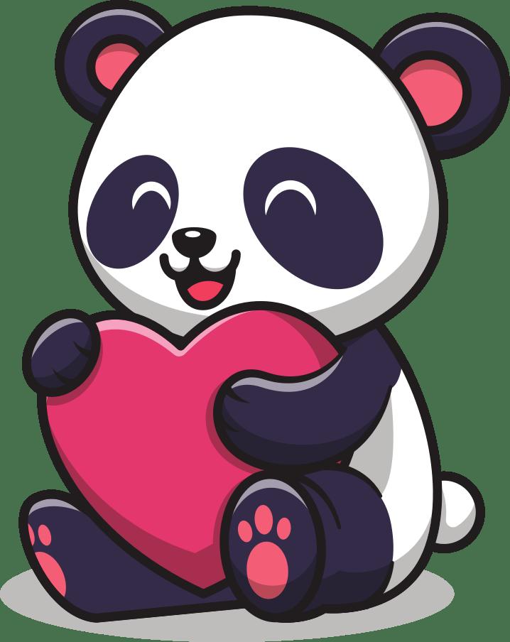 Panda likes cute hearth
