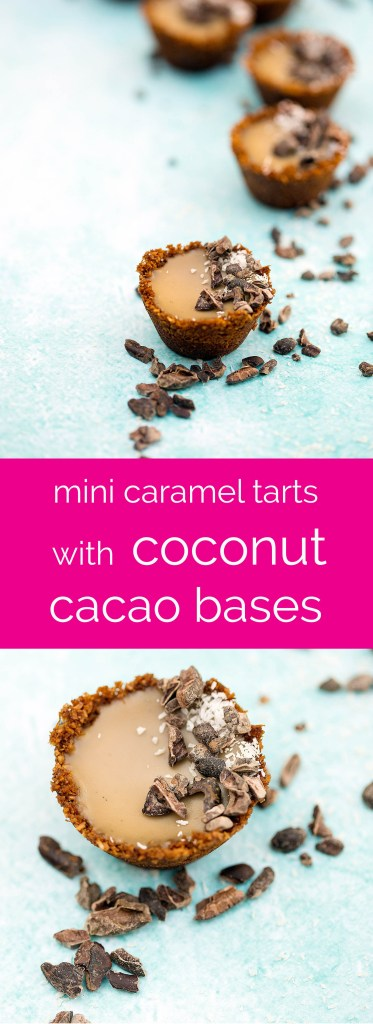 mini caramel tarts with coconut cacao bases... dairy free and processed sugar free!