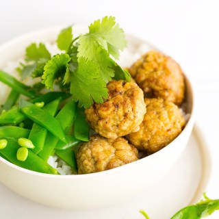 mini chicken meatballs with cashews, coriander & cream cheese