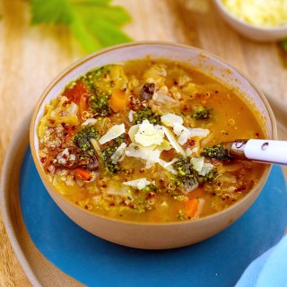 minestrone with quinoa & kale pesto