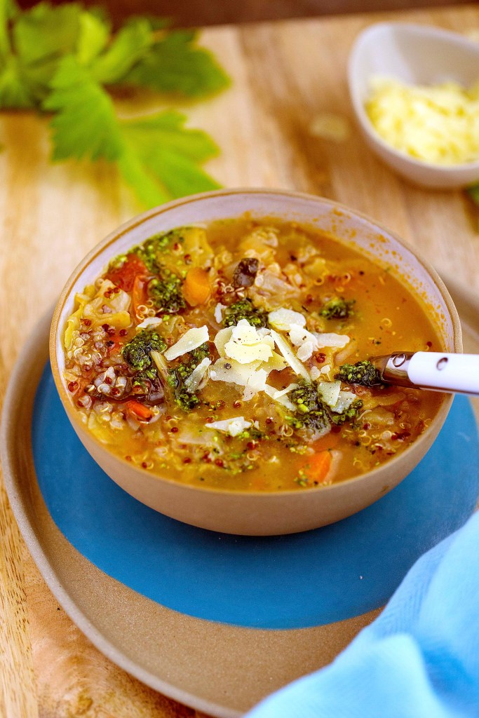 minestrone made with quinoa and topped with kale and celery leaf pesto...... see recipe at www.kidseatbyshanai.com