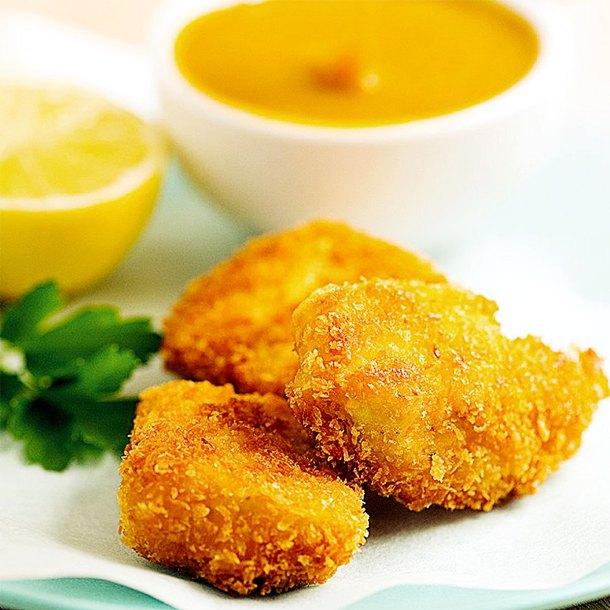 Coconut Chicken Nuggets: Crunchy Coconut Chicken Nuggets With Honey Mustard Sauce
