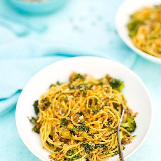 spaghetti + broccoli + tuna + breadcrumbs