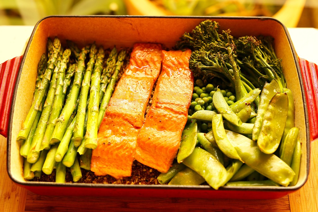 one tray oven baked salmon