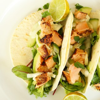 salmon + pickled fennel tacos with a creamy lime sauce