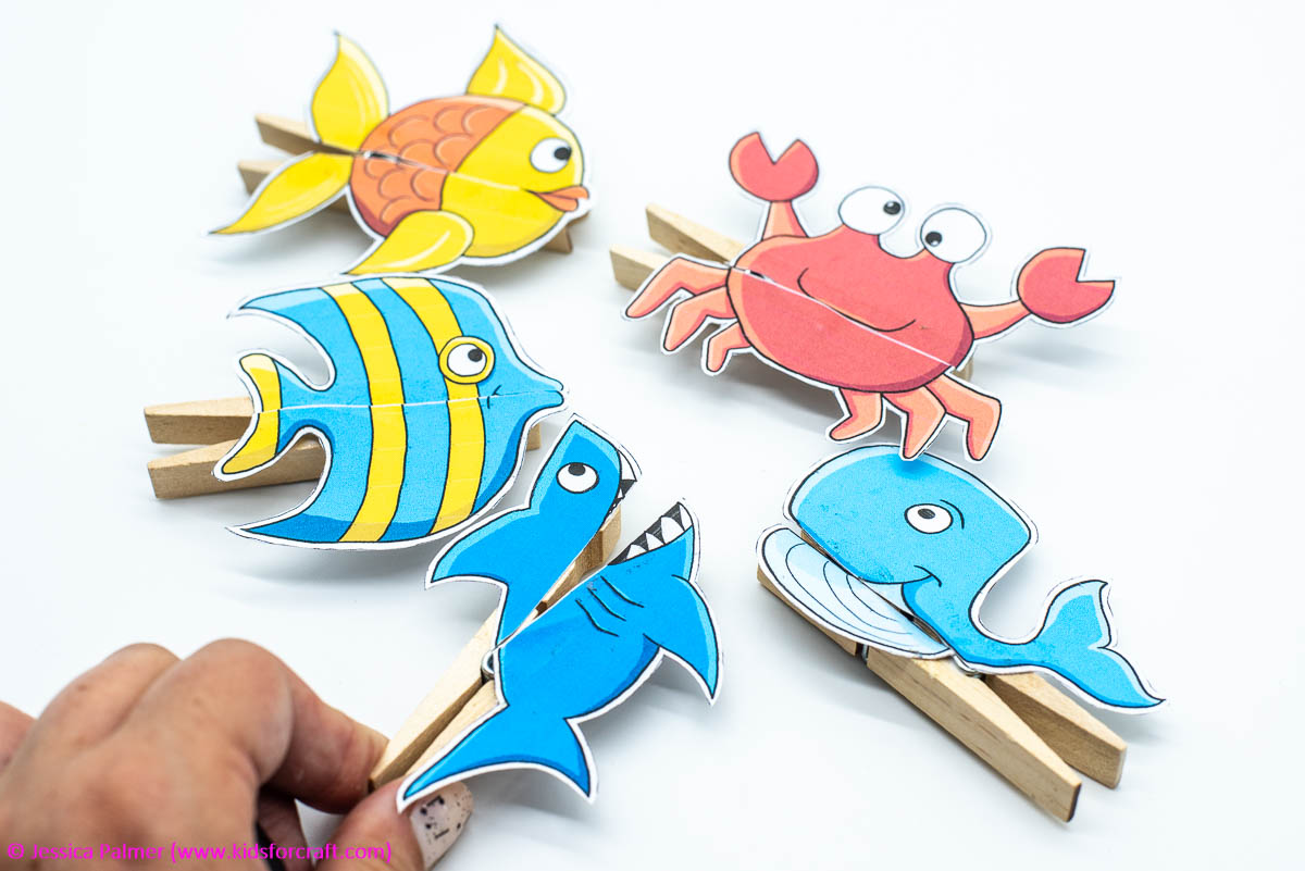 Clothespin Puppet Template - Shark, Fish, Crab & Others ...