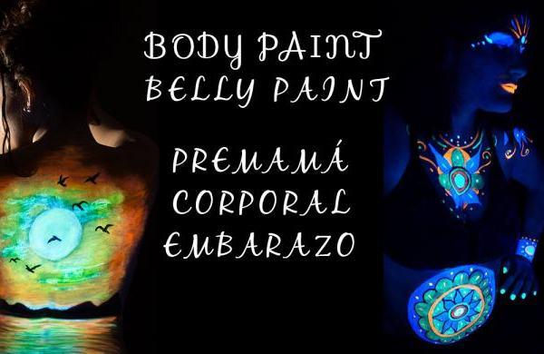 Sesión Belly Paint Body paint embarazo premamá con luz negra.