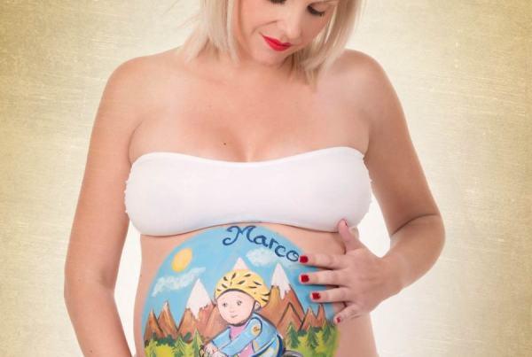 Sesión fotográfica Body Painting premamá, Fotografía de embarazo con Belly Painting Zaragoza