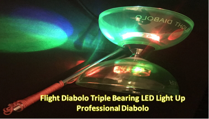 3/Flight Diabolo Triple Bearing LED Light Up Professional Diabolo / Chinese Yoyo Toy with Aluminum Sticks Translucent Green