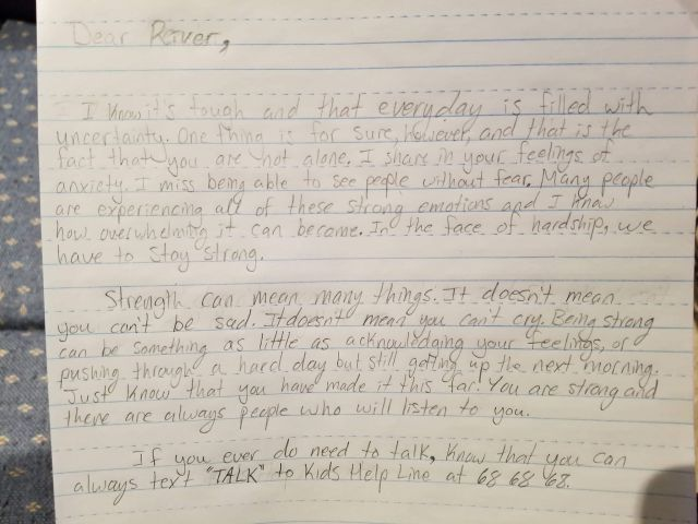 Letters of support from kids like you during COVID-26 - Kids Help