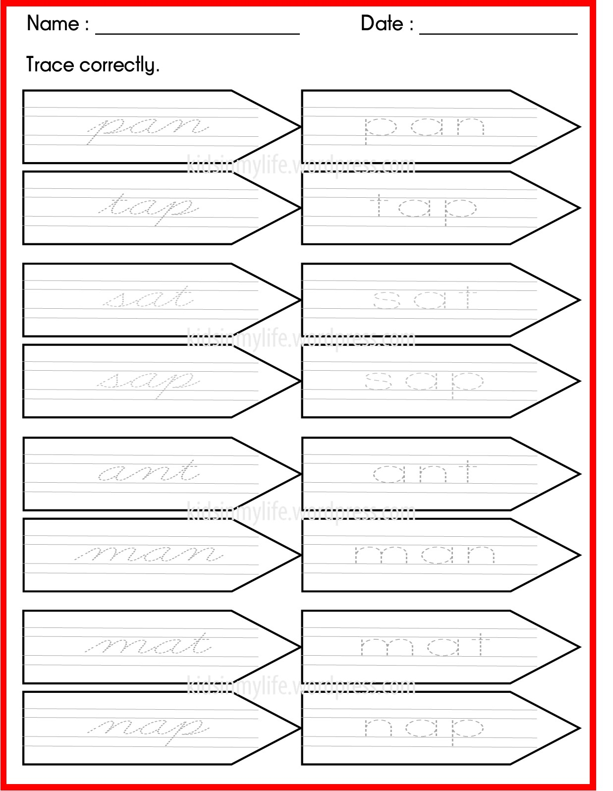 Phonics Cursive Writing Worksheet 1 Kids In My L I F E
