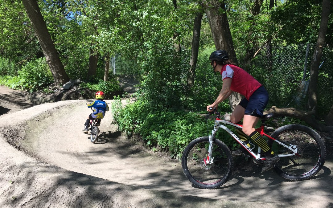 Mountain biking with Kids in TOw: Pump Track in Toronto's Crothers Woods