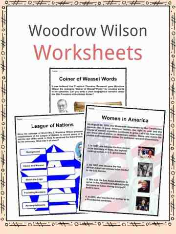 Woodrow Wilson Worksheets
