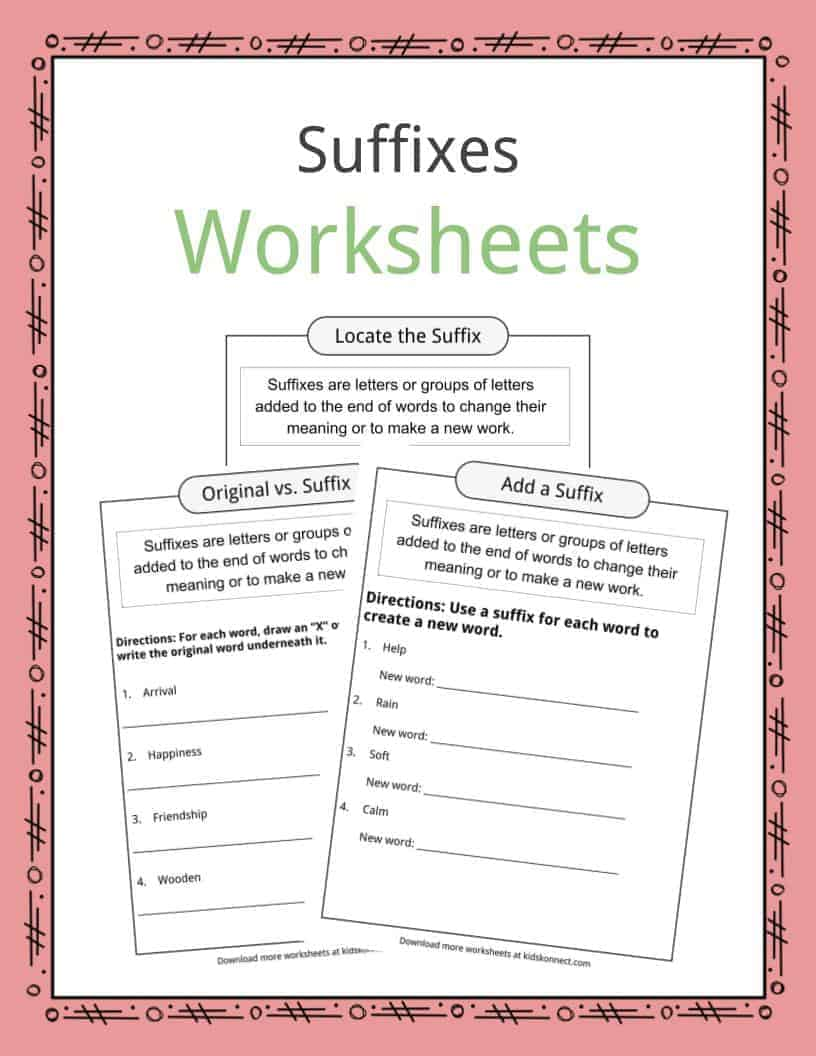 Suffixes Worksheets Examples Amp Definition For Kids
