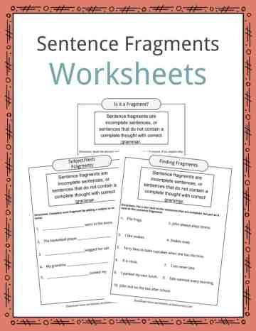 Sentence Fragments Worksheets