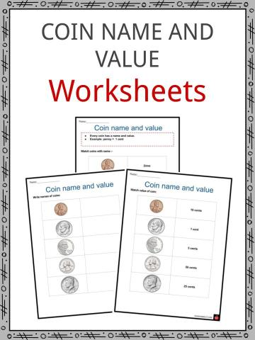 Coin name and value Worksheets