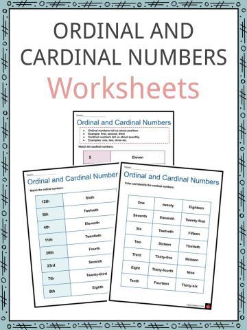 Ordinal and Cardinal Numbers Worksheets