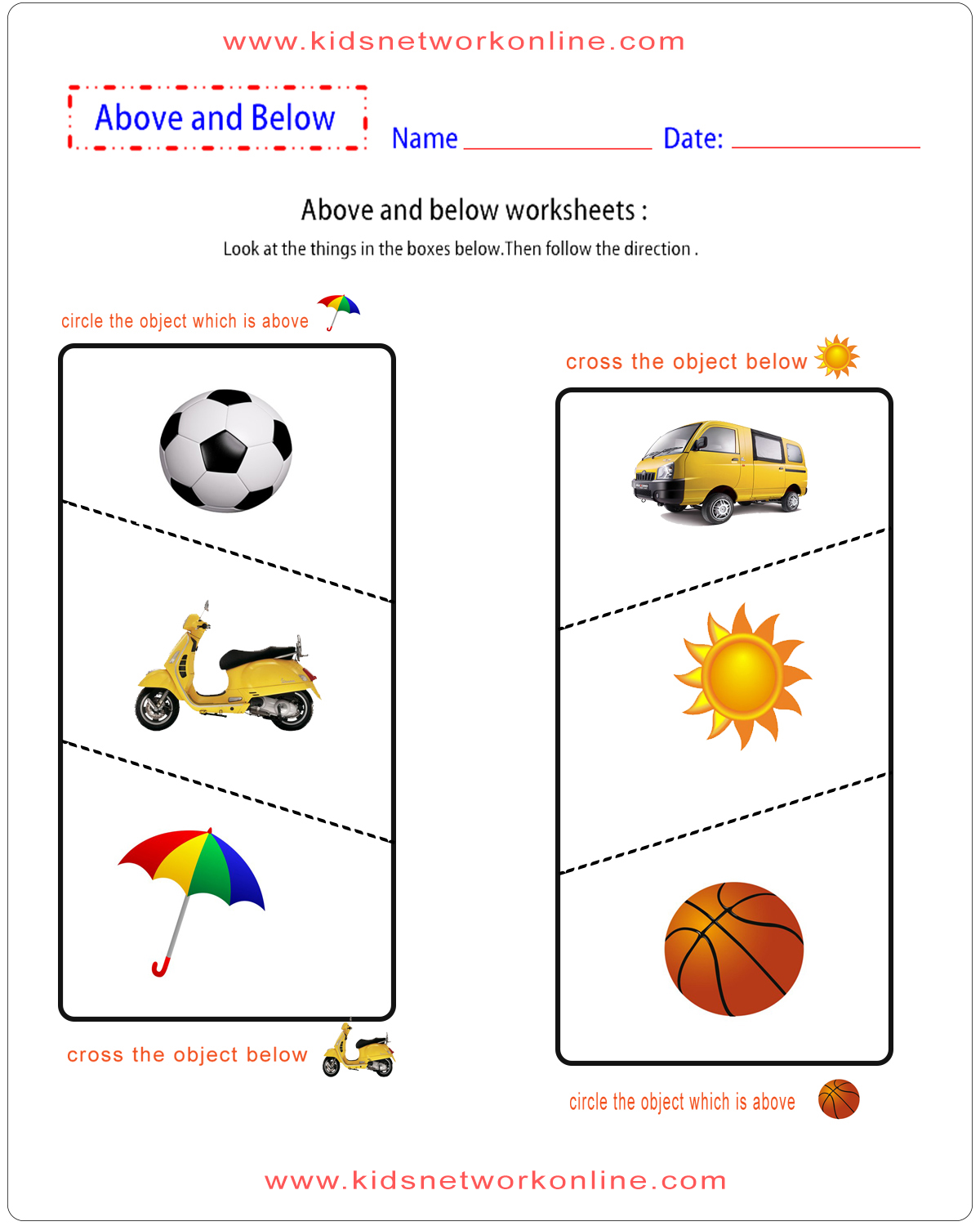 Position And Direction Worksheets Fpr Kids