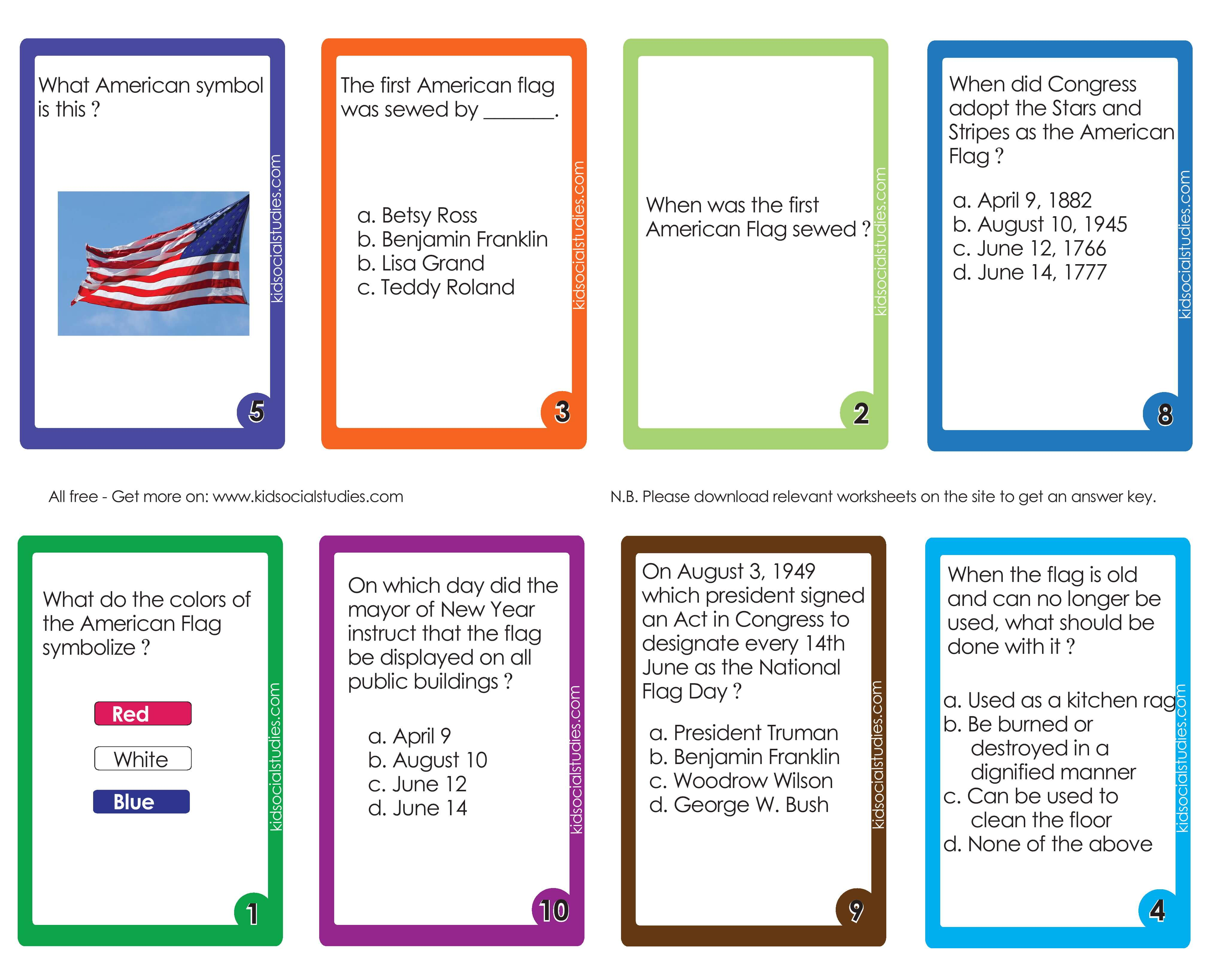 The American Flag Flash Cards Printable Cards