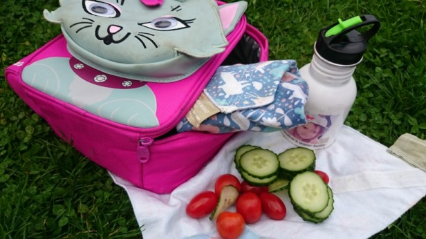 Eco sandwich wraps with veggies on grass, lunch bag and water bottle on grass