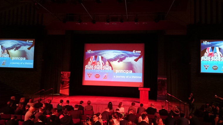 Image of stage-set-with-tv-screens-at-principia-schools-conference