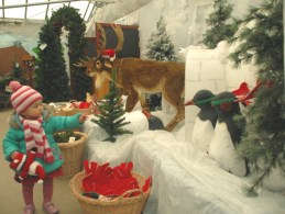 Image of toddler-pointing-at-reindeer-and-penguin-display-in-christmas-tree-shop