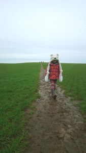 Image of young-girl-in-polar-bear-hat-walking-downhill-with-standing-stones-on-top-of-distant-hill