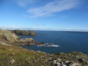 Image of landscape view of sea from grassy cliffs Skomer Island UK