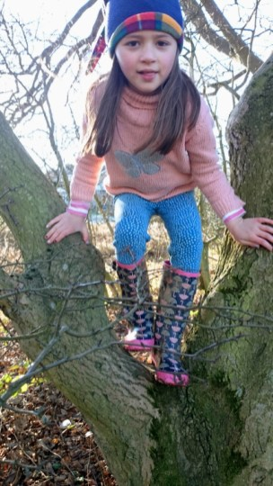Image of girl-in-pink-jumper-blue-leggings-and-woolly-hat-climbing-a-tree