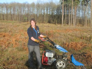 Image of woman-in-field-with-woods-behind-using-machinery-cutter