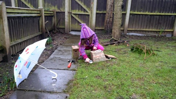 Image girl-with-umbrella-in-garden-cleaning-nestboxes
