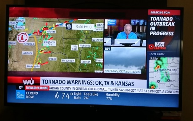 TV screenshot showing Oklahoma weather channel tornado warning 18 May 2017