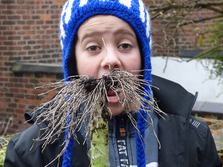 Boy with plant roots as a moustache