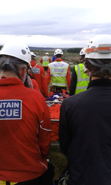 Northumberland National Park Mountain Rescue team at work with stretcher