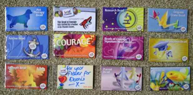 Image of various Beads of Courage information cards