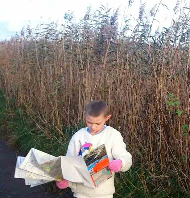 Image of short haired child in cream jumper holding open OS map in front of tall reed bed