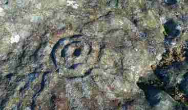 Image of ancient spiral carving in grey rock with lichen to right