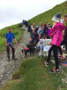 Image of group of walkers with dogs on hillside buying cakes from charity stall