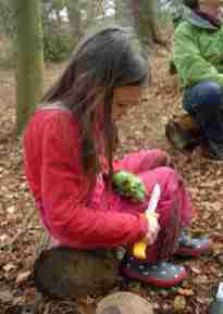 Image of girl in pink salopettes sitting on log in woods whittling a stick with a knife