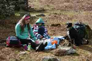 Image of woman, girl , dog and backpacks having picnic on blue rug on bracken with dry stone wall behind