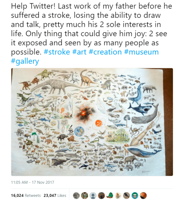 Image of Facebook screenshot showing original tweet about a stunning artwork of the creation