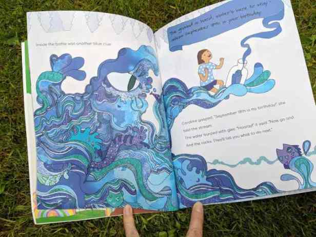 Image of double page spread from children's picture book showing stylised stream in shades of blue