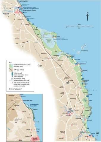 Image of map of Northumberland Coast AONB