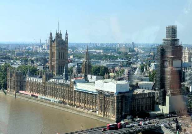 Image of Houses of Parliament as viewed from a capsule in the London Eye on a sunny day